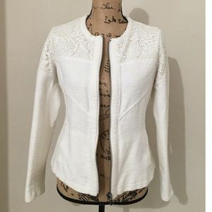 cAbi White Textured Lace Topped Zip Up Jacket